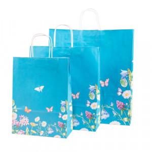 Papiertaschen blau mit Blumen