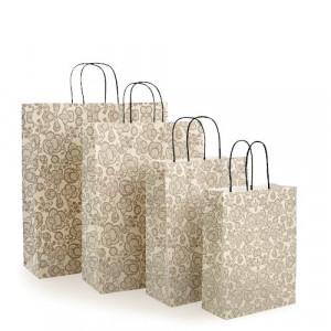 Papiertaschen Damast mit filigranem, grauem Aufdruck