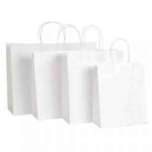Papiertragetaschen Basic weiß mit Randumschlag