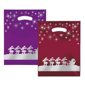 Weihnachtstragetaschen Rentierschlitten bunt (LDPE)