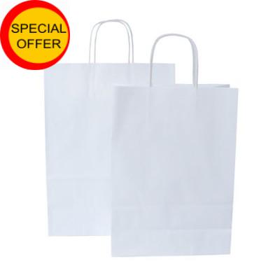 Papiertaschen in weiß mit gedrehtem Papiergriff
