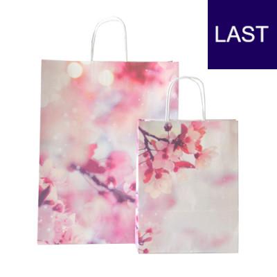 Papiertaschen Cherry mit Kirschblüten Motiv Vorder-/Rückseite