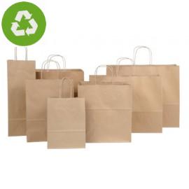 Papiertaschen Recycelt in braun glatt