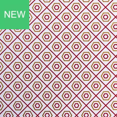 Geschenkpapier Coated - Hexagon burgund - gold